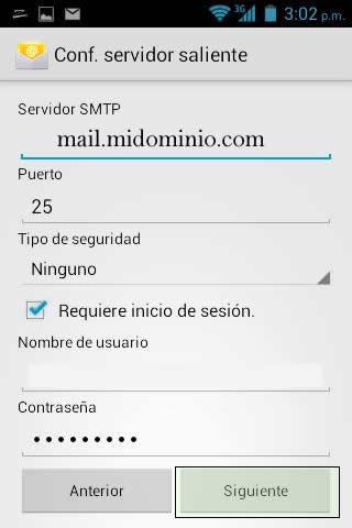 configurar servidor de correo entrante